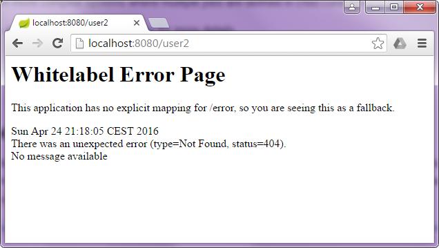 Whitelabel Error Page, czyli strona błędu generowana przez Spring Boot