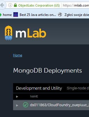 Więcej informacji na temat instancji MongoDB podpiętej do mojej aplikacji (na stronie dostawcy usługi)