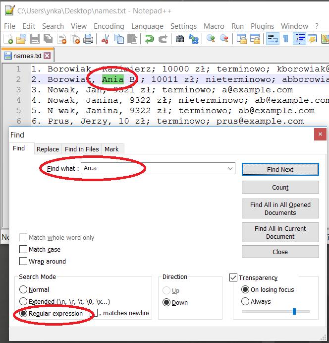 Wyrażenie regularne w edytorze Notepad++ dopasowane do słowa w tekście